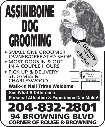 Assiniboine Dog Grooming (204-832-2801) - Display Ad - Here ST. JAMES & CHARLESWOOD Westwood Dr Browning Walk-in Nail Trims Welcome See What A Difference Personal Attention & Experience Can Make! 204-832-2801 94 BROWNING BLVD CORNER OF ROUGE & BROWNING ASSINIBOINE DOG Celebrating GROOMING 25 Yrsin Business SMALL ONE GROOMER OWNER/OPERATED SHOP MOST DOGS IN & OUT IN A COUPLE HOURS Cavalier Portage Ave Rouge PICK UP & DELIVERY We Are Here ST. JAMES & CHARLESWOOD Westwood Dr Browning Walk-in Nail Trims Welcome ASSINIBOINE DOG Celebrating GROOMING 25 Yrsin Business SMALL ONE GROOMER OWNER/OPERATED SHOP MOST DOGS IN & OUT IN A COUPLE HOURS Cavalier Portage Ave Rouge PICK UP & DELIVERY We Are Here ST. JAMES & CHARLESWOOD Westwood Dr Browning Walk-in Nail Trims Welcome See What A Difference Personal Attention & Experience Can Make! 204-832-2801 94 BROWNING BLVD CORNER OF ROUGE & BROWNING ASSINIBOINE DOG Celebrating GROOMING 25 Yrsin Business SMALL ONE GROOMER OWNER/OPERATED SHOP MOST DOGS IN & OUT IN A COUPLE HOURS Cavalier Portage Ave Rouge PICK UP & DELIVERY We Are Here ST. JAMES & CHARLESWOOD Westwood Dr Browning Walk-in Nail Trims Welcome See What A Difference Personal Attention & Experience Can Make! 204-832-2801 94 BROWNING BLVD Personal Attention & Experience Can Make! 204-832-2801 94 BROWNING BLVD CORNER OF ROUGE & BROWNING See What A Difference ASSINIBOINE DOG Celebrating GROOMING 25 Yrsin Business SMALL ONE GROOMER OWNER/OPERATED SHOP MOST DOGS IN & OUT IN A COUPLE HOURS CORNER OF ROUGE & BROWNING Cavalier Portage Ave Rouge PICK UP & DELIVERY We Are