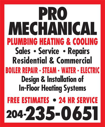 Pro Mechanical Plumbing Heating & Cooling (204-235-0651) - Annonce illustrée======= -