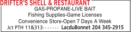 Drifter's Shell & Restaurant (204-345-2915) - Display Ad - GAS-PROPANE-LIVE BAIT Fishing Supplies-Game Licenses Convenience Store-Open 7 Days A Week