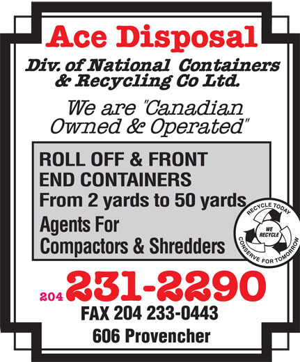 Ace Disposal Div Of National Containers & Recycling Co Ltd (204-231-2290) - Annonce illustrée======= - 204 204 233-0443