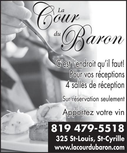 La Cour du Baron (819-479-5518) - Display Ad -