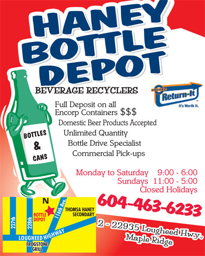 Haney Bottle Depot (604-463-6233) - Annonce illustrée======= -