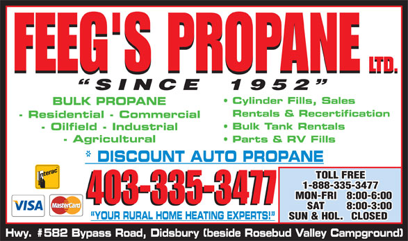 Feeg's Propane Ltd (403-335-3477) - Display Ad - 403-335-3477