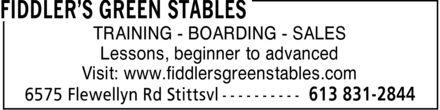 Fiddler's Green Stables (613-831-2844) - Annonce illustrée======= - TRAINING - BOARDING - SALES Lessons, beginner to advanced Visit: www.fiddlersgreenstables.com  TRAINING - BOARDING - SALES Lessons, beginner to advanced Visit: www.fiddlersgreenstables.com