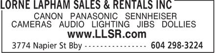 Lorne Lapham Sales & Rentals Inc (604-298-3224) - Annonce illustrée======= -
