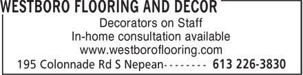 Westboro Flooring (613-226-3830) - Annonce illustrée======= -