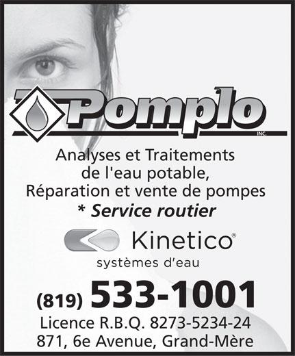 Pomplo Inc (819-533-1001) - Annonce illustrée======= -