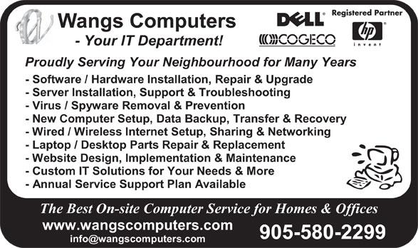 Wangs Computers (905-580-2299) - Annonce illustrée======= -