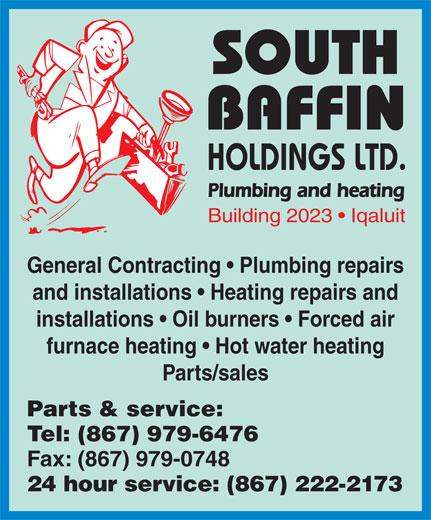 South Baffin Holdings Ltd (867-979-6476) - Annonce illustrée======= -
