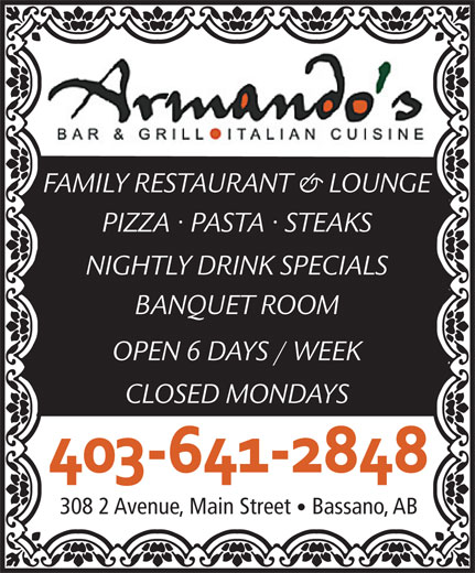 Armando's Bar & Grill (403-641-2848) - Display Ad -