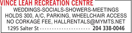 Vince Leah Recreation Centre (204-338-0046) - Annonce illustrée======= - WEDDINGS-SOCIALS-SHOWERS-MEETINGS HOLDS 300, A/C, PARKING, WHEELCHAIR ACCESS NO CORKAGE FEE, HALLRENTALS@MYMTS.NET