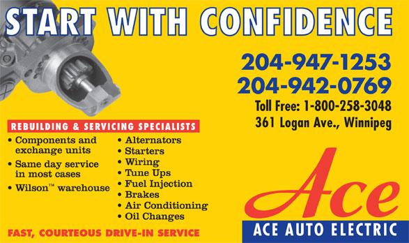 Ace Auto Electric (204-942-0769) - Annonce illustrée======= - 204-947-1253 204-942-0769