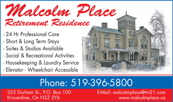 Malcolm Place Retirement Residence (519-396-5800) - Display Ad -