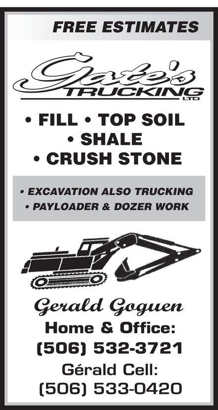 Gates Trucking Ltd (506-533-0420) - Annonce illustrée======= -