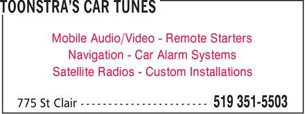 Toonstar's Car Tunes (519-351-5503) - Display Ad - Mobile Audio/Video Remote Starters Navigation Car Alarm Systems Satellite Radios Custom Installations