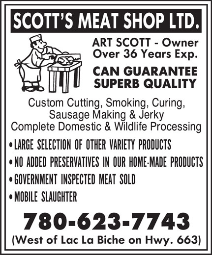 Scott's Meat Shop Ltd (780-623-7743) - Display Ad - 780-623-7743 780-623-7743