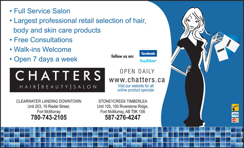 Chatters Salon (780-743-2105) - Annonce illustrée======= - SALO UT TTER BE AIR SSALO NCH CHATTER SH