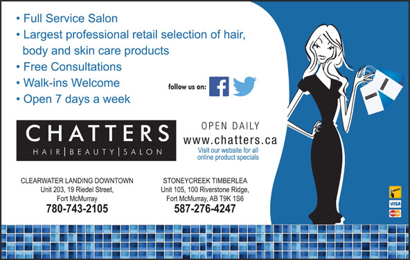 Chatters Salon (780-743-2105) - Display Ad - SH SALO UT TTER AIR BE CHATTER SSALO NCH