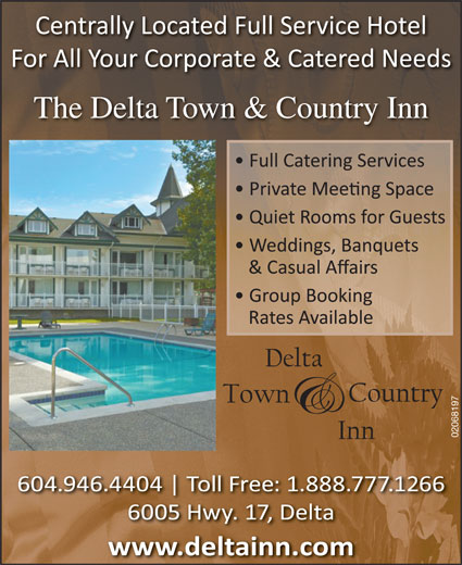 The Delta Town & Country Inn (604-946-4404) - Display Ad - The Delta Town & Country Inn 02068197