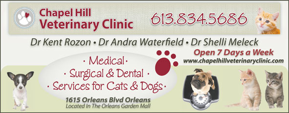 Chapel Hill Veterinary Clinic (613-834-5686) - Annonce illustrée======= - www.chapelhillveterinaryclinic.com www.chapelhillveterinaryclinic.com