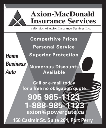 Axion-MacDonald Insurance Services (905-985-1123) - Display Ad -