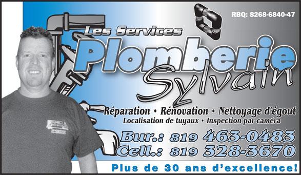 Les Services De Plomberie Sylvain (819-328-3670) - Annonce illustrée======= -