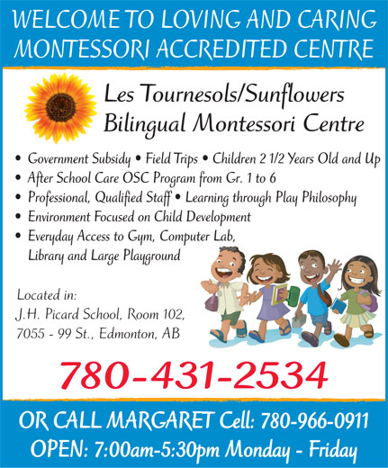 Les Tournesols-Sunflowers Bilingual Montessori Centre (780-431-2534) - Display Ad -