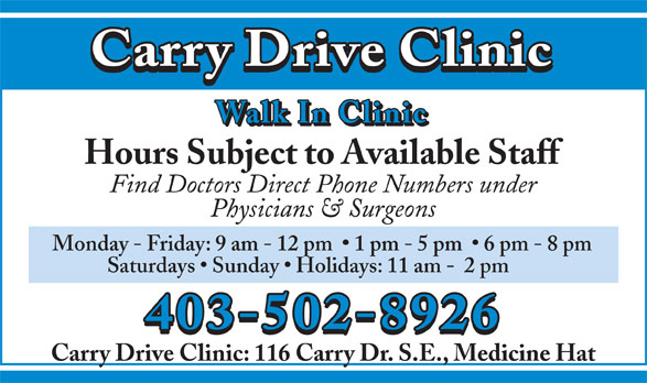 Ads Carry Drive Walk-In Clinic