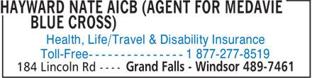 Hayward Nate AICB - Agent for Medavie Blue Cross (709-489-7461) - Annonce illustrée======= - Health, Life/Travel & Disability Insurance