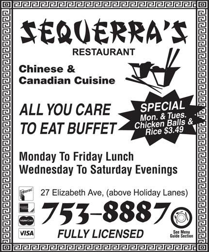 Sequerra's Restaurant (709-753-8887) - Display Ad -