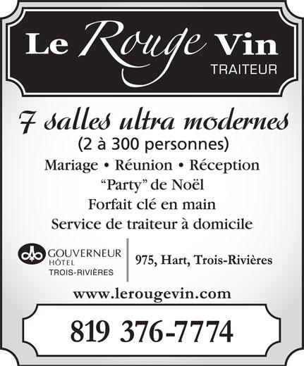 Le Rouge Vin Hotel Gouverneur (819-376-7774) - Annonce illustrée======= -