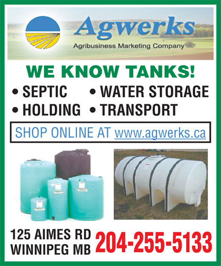 Agwerks (204-255-5133) - Annonce illustrée======= - SEPTIC WATER STORAGE HOLDING  TRANSPORT SHOP ONLINE AT www.agwerks.ca 125 AIMES RD 204-255-5133 WE KNOW TANKS! WINNIPEG MB