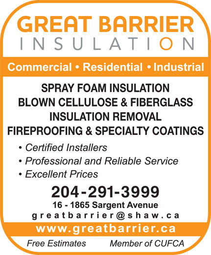 Great Barrier Insulation (204-291-3999) - Display Ad - FIREPROOFING & SPECIALTY COATINGS 204-291-3999 INSULATION REMOVAL SPRAY FOAM INSULATION BLOWN CELLULOSE & FIBERGLASS
