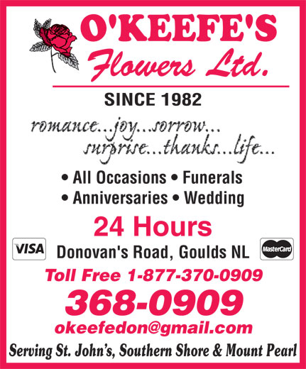 O'Keefe's Flowers Ltd (709-368-0909) - Display Ad -