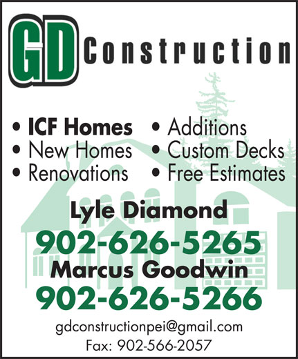 GD Construction (902-626-5266) - Display Ad - 902-626-5265 902-626-5266 Fax: 902-566-2057 902-626-5265 902-626-5266 Fax: 902-566-2057