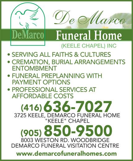 Demarco Funeral Home Keele Chapel Inc 3725 Keele St