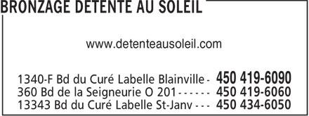Bronzage Détente Au Soleil (450-419-6090) - Annonce illustrée======= - www.detenteausoleil.com