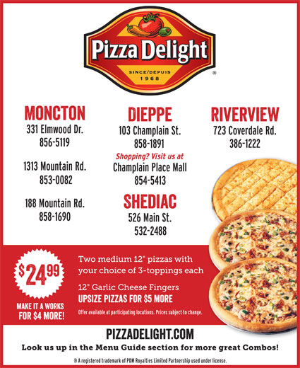 Pizza Delight Take Out & Delivery Service (506-858-1891) - Annonce illustrée======= - font interstate regular compressed