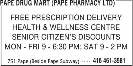 Pape Drug Mart (Pape Pharmacy Ltd) (416-461-3581) - Annonce illustrée======= -