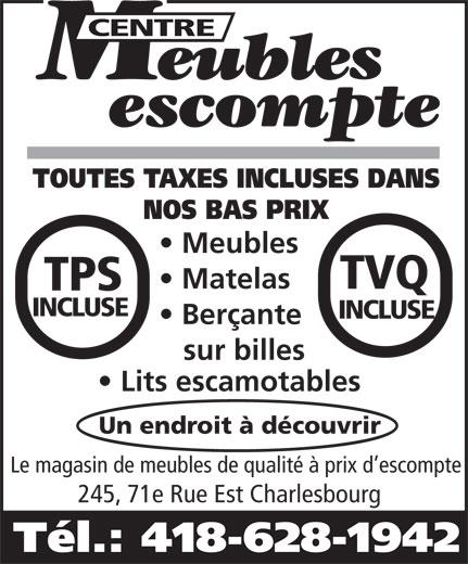 Centre Meubles Escompte (418-628-1942) - Display Ad -