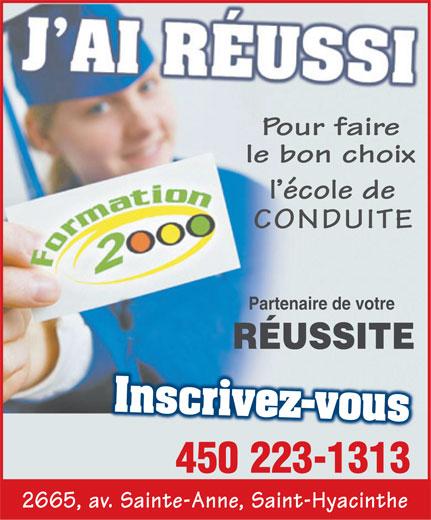 École De Conduite Formation 2000 (450-223-1313) - Annonce illustrée======= -