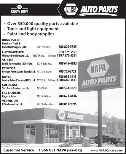 NAPA Auto Parts (780-594-1820) - Display Ad -