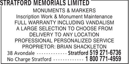 Stratford Memorials Limited (519-271-6736) - Display Ad -