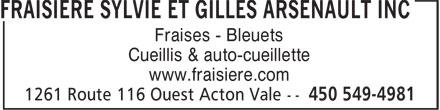 Fraisière Sylvie et Gilles Arsenault Inc (450-549-4981) - Annonce illustrée======= - Fraises - Bleuets Cueillis & auto-cueillette www.fraisiere.com