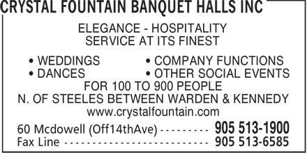 Crystal Fountain Banquet Halls Inc (905-513-1900) - Display Ad -