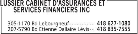 Lussier Cabinet d'assurances et services financiers (418-627-1080) - Annonce illustrée======= -