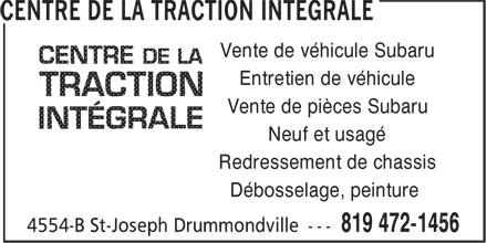 Centre de la Traction Intégrale (819-472-1456) - Display Ad - Vente de véhicule Subaru Entretien de véhicule Vente de pièces Subaru Neuf et usagé Redressement de chassis Débosselage, peinture