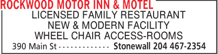 Rockwood Motor Inn & Motel (204-467-2354) - Display Ad - LICENSED FAMILY RESTAURANT NEW & MODERN FACILITY WHEEL CHAIR ACCESS-ROOMS