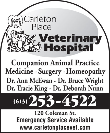 Carleton Place Veterinary Hospital (613-253-4522) - Annonce illustrée======= -