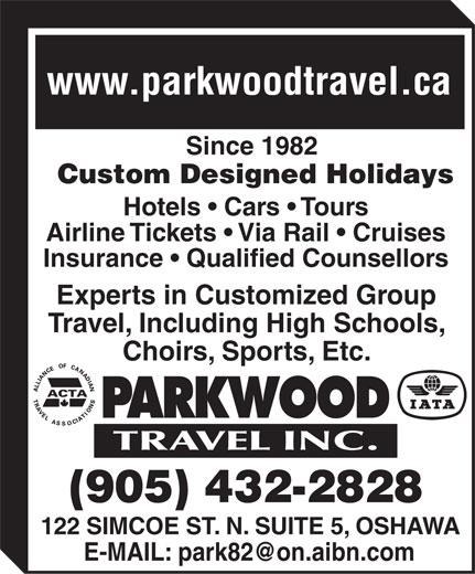 Parkwood Travel Inc (905-432-2828) - Annonce illustrée======= -